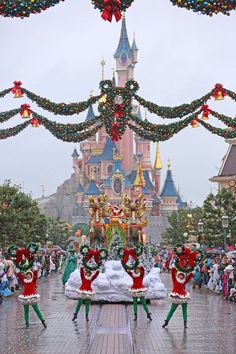 Disney Christmas Parade down Main Street U.S.A