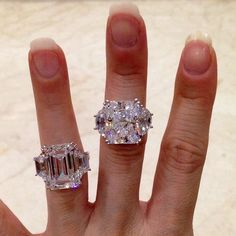 I like the emerald cut. Emerald cut with trapeze and Radiant cut with half moon. Beautiful Engagement Rings, Beautiful Rings, Diamond Engagement Rings, Wedding Jewelry, Wedding Rings, Wedding Band, I Love Jewelry, Fine Jewelry, Wedding Ring Sets Unique