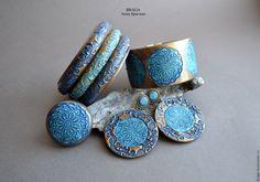 Купить Комплект Марокко из полимерной глины - синий, комплект, браслеты, кольцо, серьги, крупные украшения