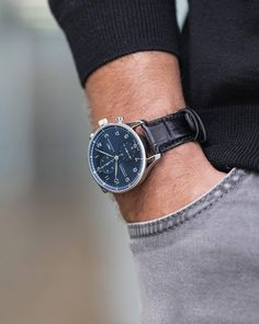 The blue & silver colour palette suits that of the rich black alligator leather strap with refined stainless steel fasten which fits comfortably to the wrist. Cool Watches, Watches For Men, Men's Watches, Wrist Watches, Iwc Chronograph, Silver Color Palette, Luxury Watch Brands, Watches Online, Automatic Watch