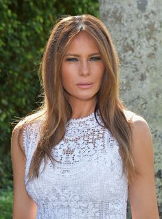 Melania Trump Layered Cut - Melania Trump looked chic with her textured, layered cut at the Trump Invitational Grand Prix Mar-a-Lago Club event in Palm Beach, Florida.