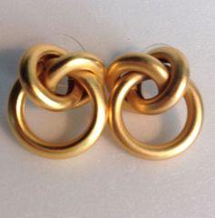 Knotted Hoop / Loop Earrings Brushed Gold Tone Metal Pierced Stud  #Unbranded #Stud