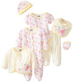 Peanut Buttons Baby-Girls Newborn Flowers 8 Piece Bib Set, Yellow, 3-6 Months