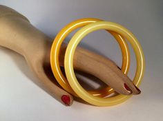 Ketty Dalsgaard Tube Bangles x2 ? Signed ? Denmark ? Vintage Nylon Bangles in Banana Yellow & Chrome Yellow