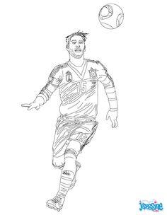 Coloriage du joueur de foot Sergio Ramos. À imprimer gratuitement ou colorier en ligne sur hellokids.com. Un coloriage parfait pour tous les fans de foot.