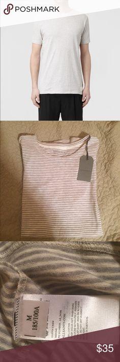 NWT all saints Mens all saints stripped grey t shirt. Super soft All Saints Shirts Tees - Short Sleeve
