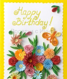 This quilled birthday card with roses and fringed flowers I made for a family member's birthday. My related tutorials: Quilling basics  Fri...