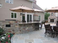 SHAPE OF FIREPLACE IN BACKGROUND  BBQ-Outdoor Kitchen-Built-In-Grill-Fireplace Design Ideas NJ