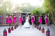 Hot Pink, Fuchsia Bridesmaid Wedding Dress - Downtown St. Pete Wedding - South Beach Inspired Wedding at NOVA 535 - St. Petersburg, Fl Wedding Photographer Kenzie Shores Photography