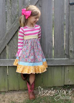 Awesome, comfy, girly, fun pdf sewing pattern from Create Kids Couture! Cosette features a knit bodice with a tiered ruffled skirt using woven cottons.