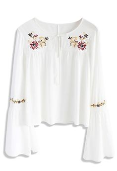 Floral Bliss Embroidered Top in White - New Arrivals - Retro, Indie and Unique Fashion