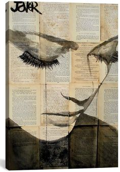 creative drawing Stretched Canvas Print: Birds by Loui Jover : - Newspaper Painting, Newspaper Art, Bird Canvas, Canvas Wall Art, Painting Canvas, Ink Painting, Bird Wall Art, Stretched Canvas Prints, Art Paintings