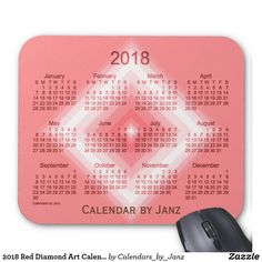 2018 Red Diamond Art Calendar by Janz Mouse Pad What Makes You Happy, Are You Happy, January February March April, Art Calendar, Presents For Kids, Diamond Art, Make You Smile, Invitations, Messages