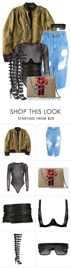 """""""Untitled #529"""" by stylesbyems ❤ liked on Polyvore featuring BLANKNYC, OneTeaspoon, Gucci, The Row, Loveday London, FAUSTO PUGLISI and Anna-Karin Karlsson"""