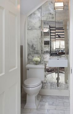 Powder room mirrors - The right decoration makes a small ladies' toilet a desirable area. The powder room, often called a half bath, varies from a standard bathroom as it only has a sink and toilet. Bad Inspiration, Bathroom Inspiration, Bathroom Mirror Makeover, Mirror Bathroom, Mirror Vanity, Diy Vanity, Wooden Bathroom, Budget Bathroom, Mirror Kit