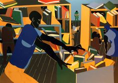 The library, 1967 Students in the library Library Bar and grill War series: the letter, 1946 Jacob Lawren. African American Artist, American Artists, Jacob Lawrence Art, Mississippi Museum Of Art, Teen Art, Library Art, Black Women Art, Black Art, Harlem Renaissance