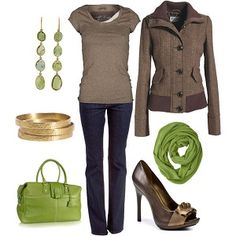 Love the pops of green. Nice casual outfit.
