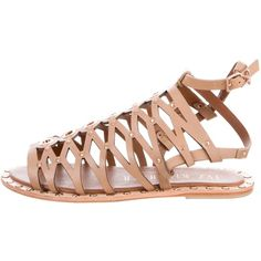 Pre-owned Ivy Kirzhner Santorini Gladiator Sandals (1 710 ZAR) ❤ liked on Polyvore featuring shoes, sandals, neutrals, tan gladiator sandals, stacked heel sandals, greek leather sandals, leather shoes and roman sandals