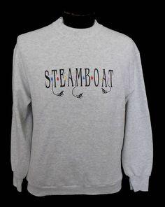 Vintage 80s Steamboat Ski Resort Sweatshirt, 1980s Colorado Souvenir Crewneck Pullover Jumper, Unisex Adult  Size Medium to Large