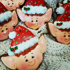 Christmas elves gingerbread decorated cookies