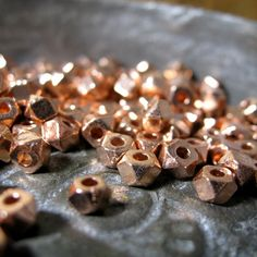 Rose Gold Spacers - Faceted Alloy Metal Beads 4mm lead and nickel free 50 pieces on Etsy, $3.75