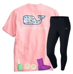 """""""days off 🐹"""" by ellalillyy ❤ liked on Polyvore featuring Vineyard Vines, NIKE, UGG Australia, Tory Burch and Essie"""