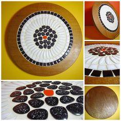 VTG 1960s MID Century Modern Mosaic Tile Stone Pebble Wood rivet Board Tray Modern Mosaic Tile, Mosaic Art, Mosaic Tiles, Kitchenware, Tableware, Mid-century Modern, 1960s, Rocks, Tray