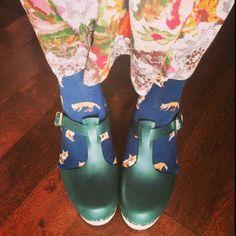 Green t bars! Foxy socks