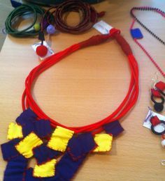 Lucky.... Jewelry Art, Jewellery, Crochet Necklace, Beaded Necklace, Fabric Squares, Bijoux, Jewerly, Beaded Collar, Jewels