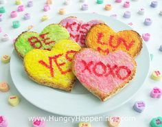 Ideas for Valentine's Day: Breakfast Conversation Heart Toast #signaturemoms