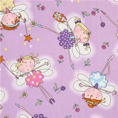 lavender fairy tale fabric with fairies Timeless Treasures