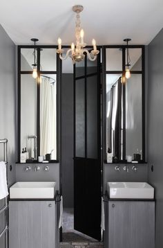 Modern bathroom in gray tones with hints of gold to brighten up the space Grey Bathrooms, Beautiful Bathrooms, Modern Bathroom, Small Bathroom, Master Bathroom, Small Medicine Cabinet, Medicine Cabinets, Jack And Jill Bathroom, Decor Scandinavian