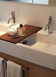 Concrete Floating Bathroom Trough Sink Metal Double Handle Wall