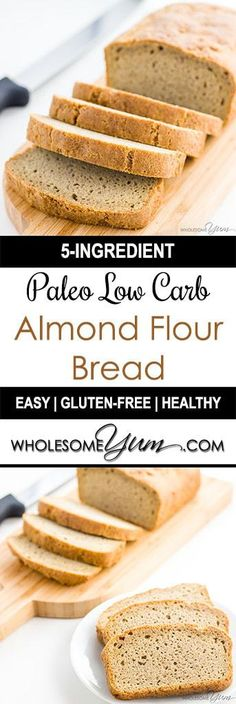 Low Carb Recipes Low Carb Bread Recipe - Almond Flour Bread (Paleo, Gluten-free) - Looking for the best low carb bread recipe? According to wholesomeyum the texture is just like wheat bread. It's gluten-free and easy to make with only 5 ingredients. Easy Low Carb Bread Recipe, Best Low Carb Bread, No Bread Diet, Lowest Carb Bread Recipe, Quick Bread, Healthy Gluten Free Bread Recipe, Low Calorie Bread, No Carb Bread, Ketogenic Recipes