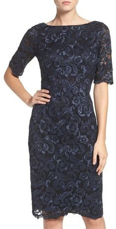 Eliza J Embroidered Lace Sheath Dress Event Dresses, Formal Dresses, Lace Sheath Dress, Types Of Dresses, Navy Blue Dresses, Embroidered Lace, Nordstrom Dresses, Blue Lace, Clothes