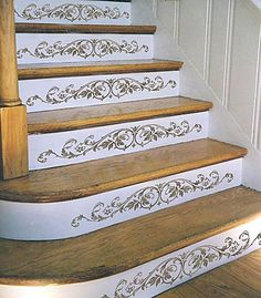 Cutting Edge Stencils - Westbury Stair Riser Stencil  In love these embellished stair risers.....