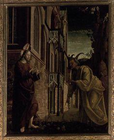 PACHER, Michael St Wolfgang Altarpiece: Temptation of Christ 1479-81 Wood, 173 x 140,5 cm Parish Church, Sankt Wolfgang.