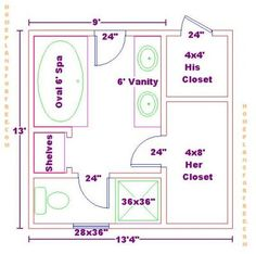9x13 master bath floor plan with his and her closet layout 9x13 master ...