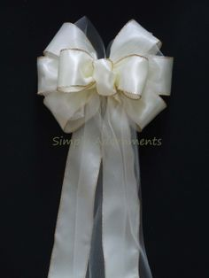 10 Ivory Satin Tulle Wedding Pew Bows Church by SimplyAdornmentsss, $100.00