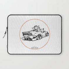 Crazy Car Art 0007 Laptop Sleeve by mame_ozizo Weird Cars, Car Illustration, Kustom Kulture, Laptop Sleeves, Old School, Japanese, Drawings, Artwork, Stuff To Buy