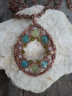 New Jade, Apatite, Rainbow Moonstone Wire Wrapped Copper Necklace - READY TO SHIP