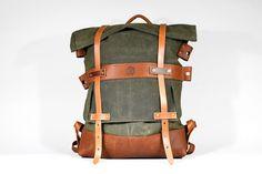 Rollup Rucksack - Green - Tan - $680