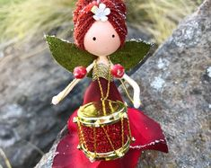 Excited to share the latest addition to my shop: Handmade Fairy Ornament Christmas Ornament Little Drummer Girl Flower Fairy Doll Music Lover Gift Fairy Gift Ideas Holiday Decor Christmas Fairy, Christmas Love, Christmas Crafts, Christmas Ornaments, Gift For Music Lover, Music Gifts, Fairy Gifts, Clothespin Dolls, Flower Fairies
