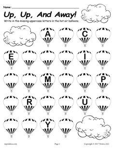 Missing Letter Worksheets for Kindergarten Printable Lowercase Alphabet Worksheet Fill In the Missing Letters Hot Air Balloon theme Missing Letter Worksheets, Free Printable Alphabet Worksheets, Digraphs Worksheets, Letter Tracing Worksheets, Literacy Worksheets, Printables, Uppercase Alphabet, Alphabet Writing, Letter Recognition