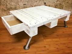 Pallet Coffee #Table with Drawer and Metal Legs | 99 Pallets