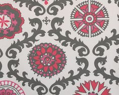 Home Decor Fabric Yardage - Rosa by Premier Prints- Gray, White and Pink - 1 Yard. $10.75, via Etsy.