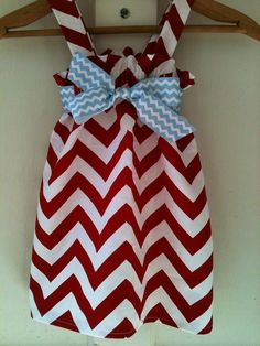 Red chevron sundress with blue chevron bow Nb10 by jakelilydesigns, $26.00