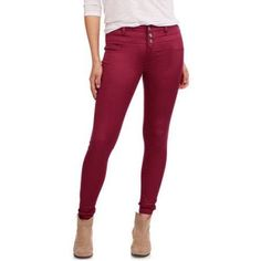 No Boundaries Juniors' Triple Stack Skinny Jeans, Size: 3, Red