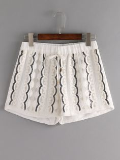 Embroidered Sequin Drawstring Shorts - White.