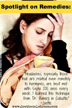 Sepia for hormonal headaches. ~joettecalabrese.com